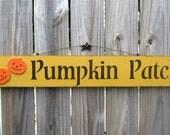 Pumpkin Patch, Painted Sign, Fall, Autumn Decor, Pumpkins, Painted Wood, Mustard Yellow, Black Lettering, Orange Pumpkins