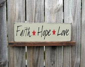 Faith, Hope, Love, Sign, Tan, Black Lettering, Barn Red Stars
