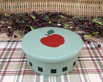 Wood Box, Round Box, Apple Box, Country Decor, Trinket Box, Jewelry Box, Small Storage Box, Hand Painted, Green, Red Apple, Black Accents