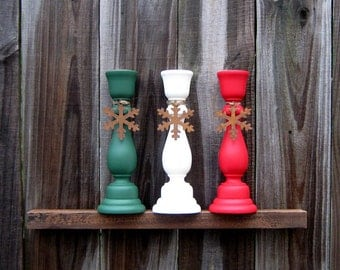 Holiday Taper Holders, Candle Stick Set, Painted Wood, Set of Three, Christmas, Holiday Decor, Green, Ivory, Red, Rusty Tin Snowflake