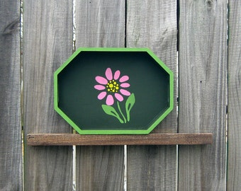 Flower Tray, Decorative Tray, Painted Wood, Spring Flower, Pink Flower, Pine Green, Light Green Accents