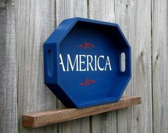 Wood Tray, America, Hand Painted Tray, Decorative Tray, Americana, Patriotic, Red, White, Blue, Octagonal Tray, USA