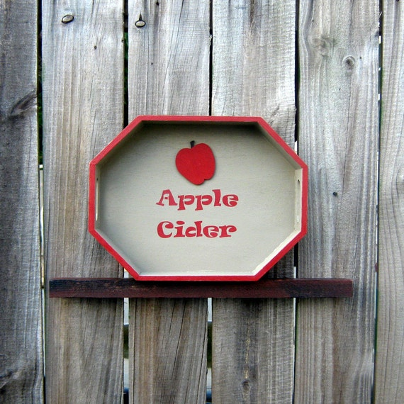 Painted Wood Tray, Decorative, Apple Cider, Fall, Autumn, Octagonal, Mudstone Tan, Red Lettering, Red Apple