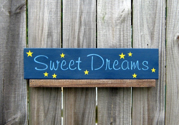 Sweet Dreams Sign, Navy Blue with Light Blue Lettering and Yellow Stars