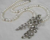 Vintage Rhinestone Pendant Pearl Necklace Victorian Romantic Upcycled Parts