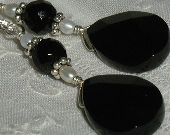 Onyx Pearl Sterling Silver Earrings Black White Wire Wrapped Drop