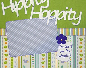 Scrapbooking Layout Hippity Hoppity Spring Easter 2 Page Kit Purple Green