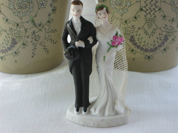Vintage 1930's Hand Painted Bisque Bride and Groom Wedding Cake Topper New Old Stock Bridal