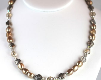 Golden Potato Pearl  and  Crystal Necklace