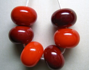 today's hot deal cherry cordial set of six delicious light and dark red handmade lampwork glass beads by paulbead