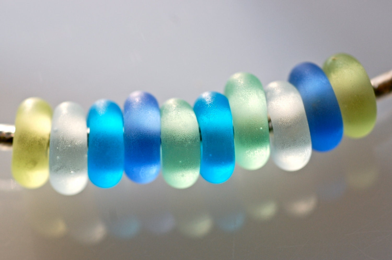 large bead set of 10 assorted sea glass lwork big