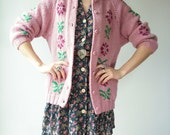 Boho Dusty Rose Floral Cardigan Sweater / Button Down Jacket Draped Sweater 70's Vintage Jacket