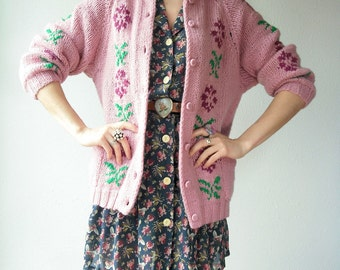 SALE...Boho Dusty Rose Floral Cardigan Sweater / Button Down Jacket Draped Sweater 70's Vintage Jacket
