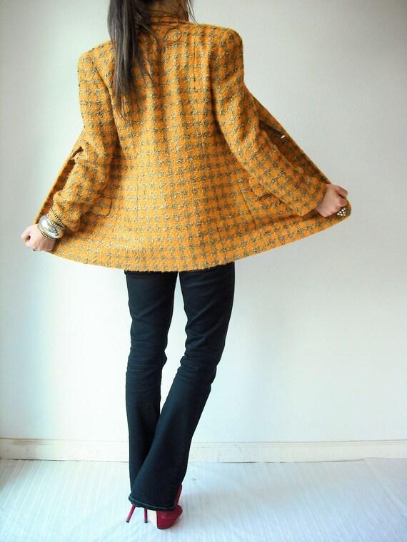 80's Vintage ANNE KLEIN Marigold Yellow and Gold Houndstooth Blazer Jacket