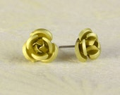 Lime green yellow aluminum surgical steel stud earrings (363) - Flat rate shipping