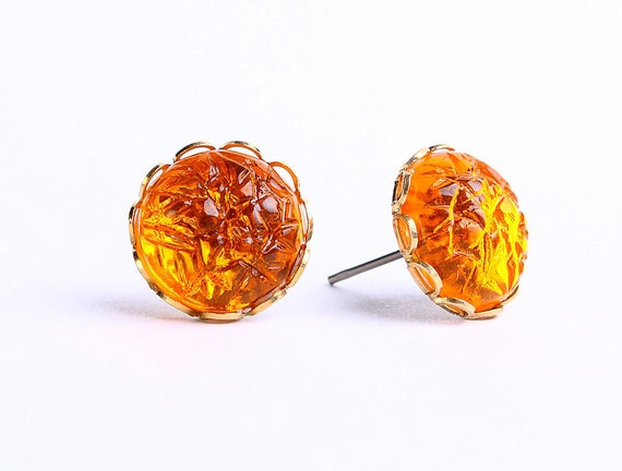 Topaz orange baroque jewel hypoallergenic surgical steel post earrings READY to ship (453) - Flat rate shipping