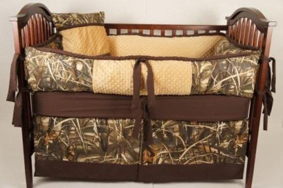 Custom made Baby crib bedding  Realtree advantage max4 HD camo with light brown hunters/Max-5 duck hunting