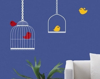 Birdcage and perch set with 4 cute little birds - Wall Decal