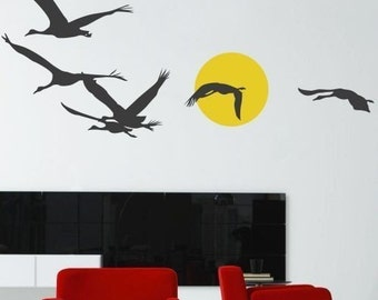Birds Flying by the Moon - Wall Decal