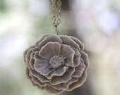 Large Gray Peony Flower Rose Necklace Bridesmaid Gifts //Maid of Honor Gifts // Rustic Wedding