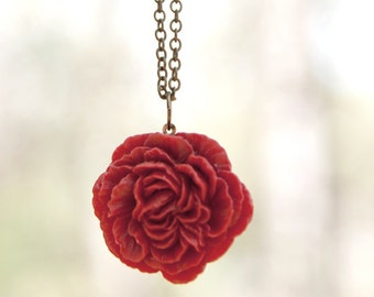 Crimson Ruby Red Peony Flower Necklace // Bridesmaid Gifts // Vintage Wedding