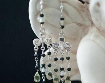 Romanesque Citrine Tourmaline Lemon Quartz Dangle Sterling Silver Earrings