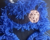 Crochet Cookie Crazy Hat Inspired by the character Cookie Monster