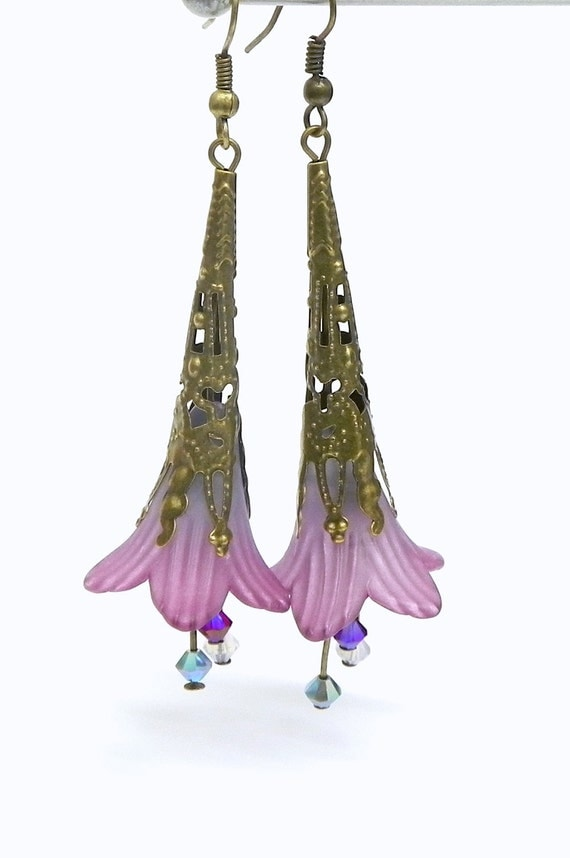 Lucite Trumpet Flower Earrings - Purple and aqua -  Brass Filigree Cone