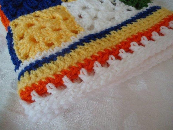 Colorful Little Squares   Afghan for Boys or Girls   Soft and Cuddly