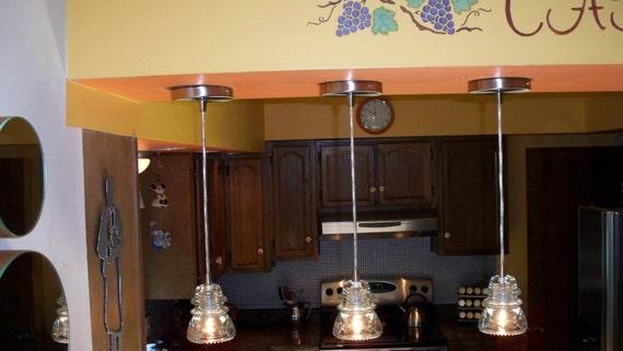 Repurposed Glass Insulator Pendant Light With Nickel By