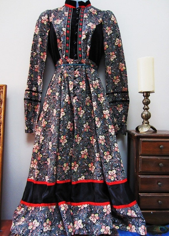 vintage (S) Gunne Sax Paisley Gypsy Traveler Dress