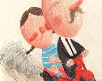 You are my hero / ORIGINAL ILLUSTRATION / Riding a bike / mustache / Children illustration /Original Pencil Drawing