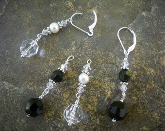 ON SALE! Two Pairs in One Interchangeable Swarovski Crystal Earrings for your Wedding Day and Honeymoon Nights