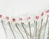 White Flower Hair Pins, Set of 11. Bridal Hair Accessories.