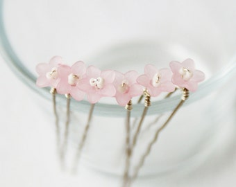 Pale Pink Flower Hair Pins, Set of 6 - Bridal Hair Accessories.