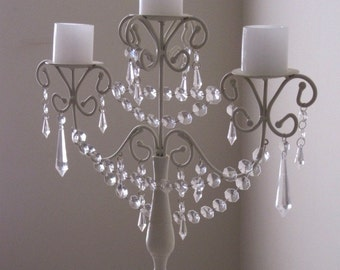 Shabby 3 Tier Pillar Candelabra with Clear Drops and Swags MADE TO ORDER