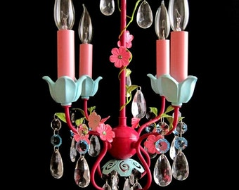 Whimsy and Wistful Petite 4 Candle Electric Nursery Chandelier MADE TO ORDER