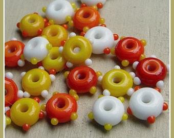 Candy Corn Mix Wheelies Lampwork Beads