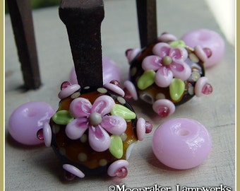 Pinkberry Floral Bloom lentil  - Lampwork Bead