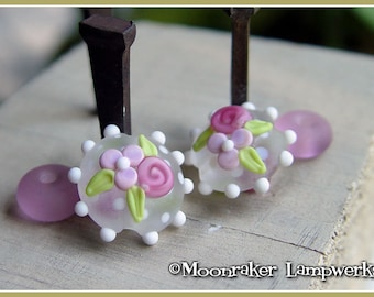 Icy Floral Lentil Winter Holiday Lampwork Bead