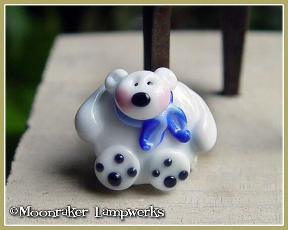 Polar Bear Holiday Winter Lampwork Bead