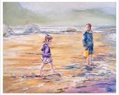 Oil Painting, Original Oil,  Siletz Bay Oregon, coastal painting, Ocean landscape, Children at play, northwest artist, Beach decor