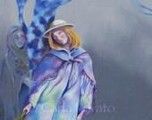 Oil Painting Surreal  Original painting  tree woman Jester fool Tarot Mystical