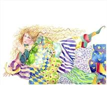 Goddess art, Watercolor Painting,  8 x 10 giclee print, goddess quilt, moon goddess, goddess decor, bright colors, quilt patterns,