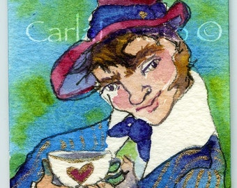 Mad Hatter, Alice in Wonderland, Watercolor, tiny painting, ACEO original, watercolor aceo, original painting, wall art, fantasy decor