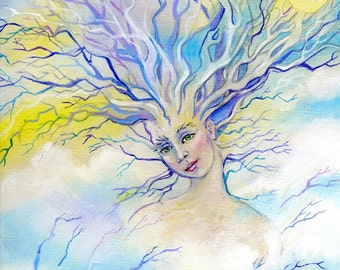 Tree Goddess, Tree Spirit, Original Acrylic Painting,  Acrylic on canvas, Original painting, woman in tree, tree woman goddess of trees