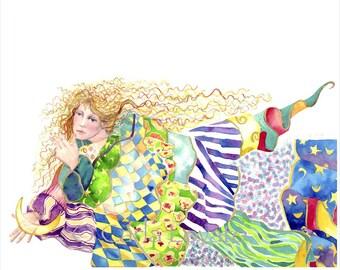 Watercolor Painting, dream Goddess,  Giclee Print, 8 x 10 print, Goddess art, woman dreaming, quilt art,