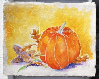 Watercolor Original, Pumpkin Painting, abstract still life, Autumn Decor, Fall Painting, Halloween art, October art,  cottage decor