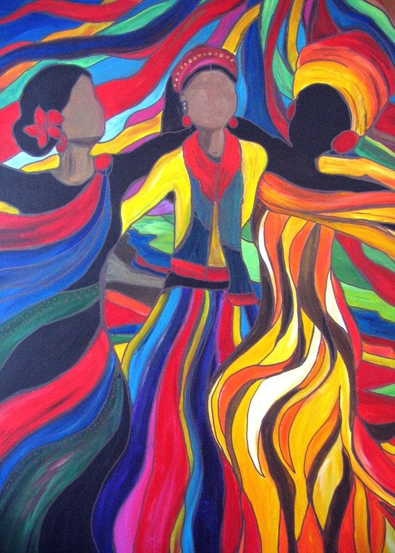 Soul Sista's- Original Contemporary Global Acrylic Painting - PRINT
