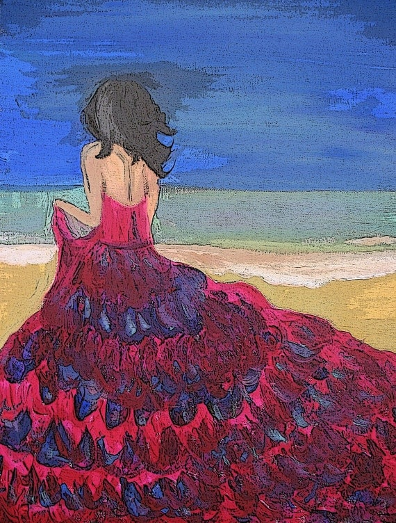 Sea-escape- Original Contemporary Acrylic Woman on Beach PAINTING PRINT